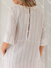 Load image into Gallery viewer, Moira Shift Dress | Cream Caramel Stripe Linen
