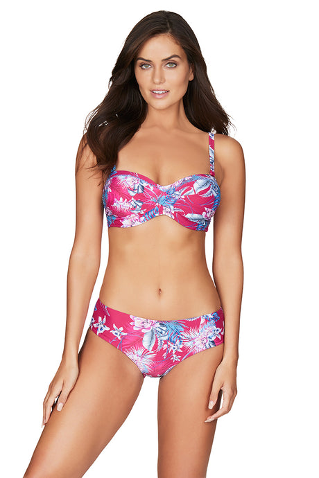 BAHAMAS | TWIST FRONT BANDEAU BIKINI TOP WITH EMBROIDERY | ROSE