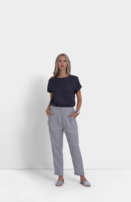Linen Low Crotch Pant | Luna Grey