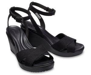 Women's Leigh II Cross-Strap Ankle Wedge | Black/Black One Country Mouse Yamba