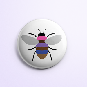 BIPOC and Bi+ Pride Bee Button