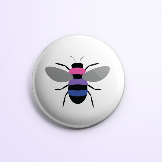 Bi Pride Bee Button