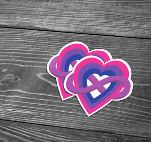 Bi+ and Polyamorous Heart Sticker
