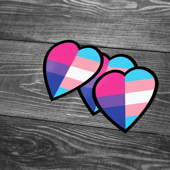 Bi+ and Trans Heart Sticker