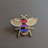 EVEN MORE Glitter-ier Bi Pride Bee Enamel Pin