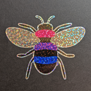 SPARKLY Holographic Bi Pride Bee Sticker