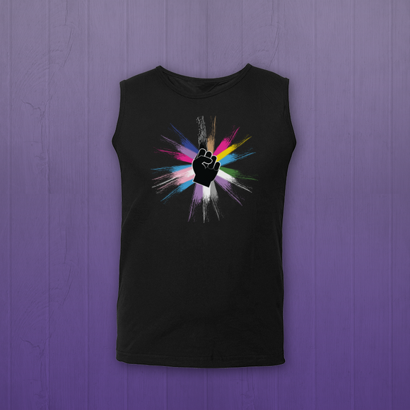 Black muscle tank top. A drawing of a fist in the middle is surrounded by rays of pride colors