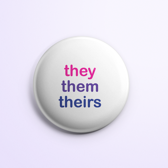 They/Them Button: Bi Flag Colors