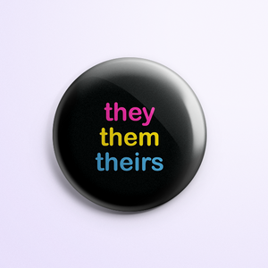They/Them Button: Pansexual Flag Colors