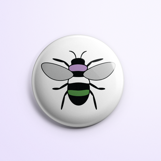 Genderqueer Pride Bee Button