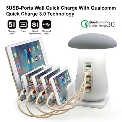 Multi Port Quick Charger Station-Fast Charging for Smart Phone + Led Lamp +USB Charge Station Dock