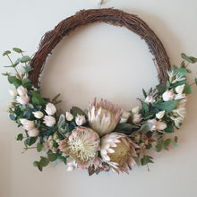 Load image into Gallery viewer, Elegant Large Australian Native Pink King Protea and Blushing Bride Christmas Wreath