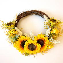 Load image into Gallery viewer, Sunny Sunflower and early cheer Wreath