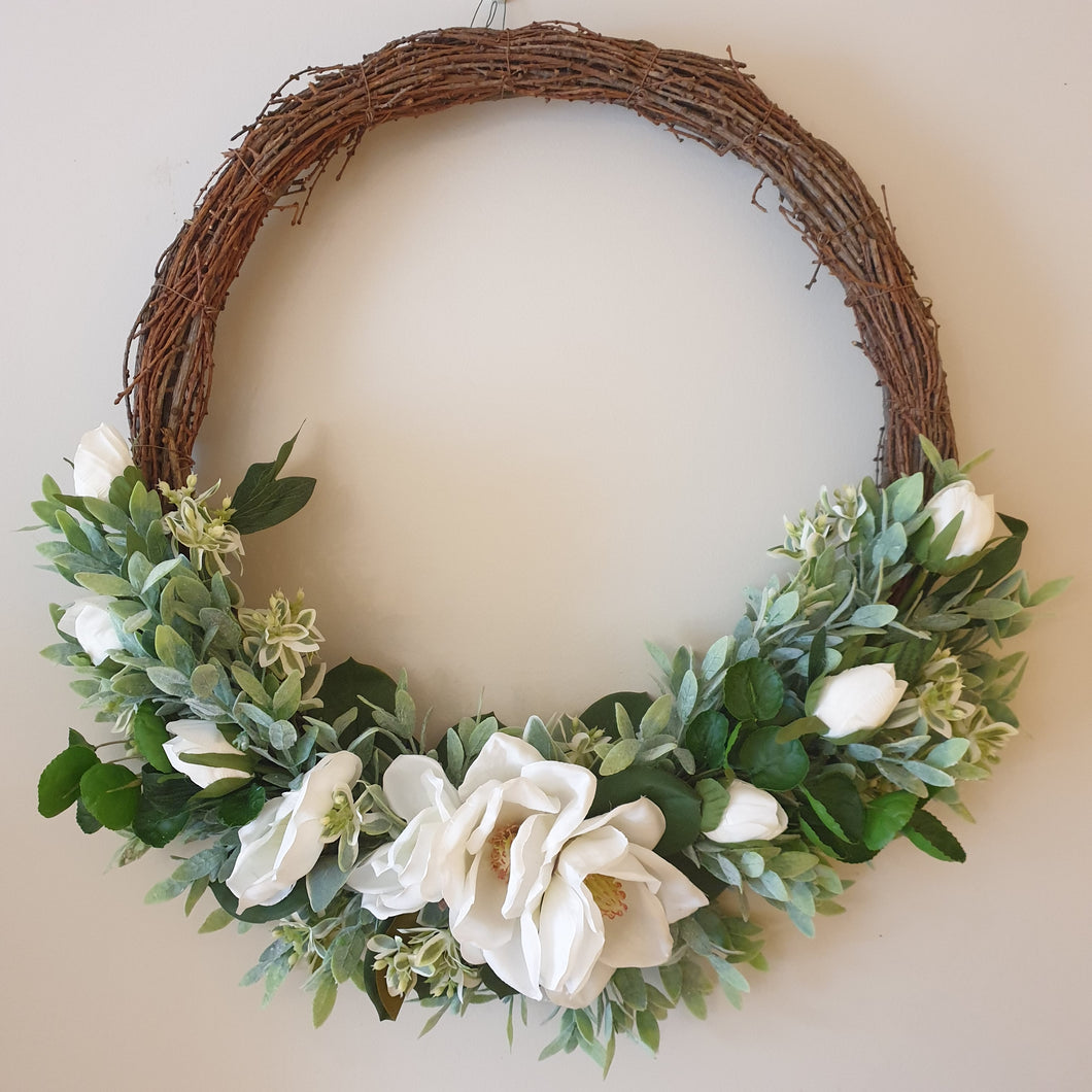 Elegant Large Magnolia and Peony 60cm Wreath - FREE DELIVERY