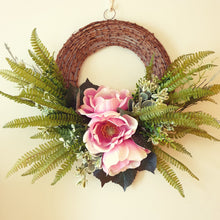 Load image into Gallery viewer, Elegant Large Pink Magnolia wall decor or Christmas 60cm Wreath - FREE DELIVERY