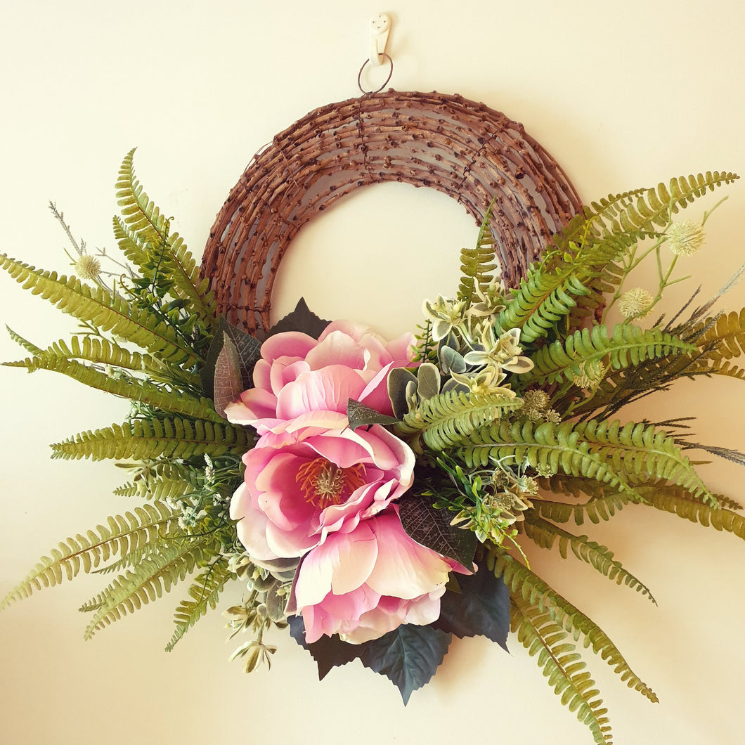 Elegant Large Pink Magnolia wall decor or Christmas 60cm Wreath - FREE DELIVERY