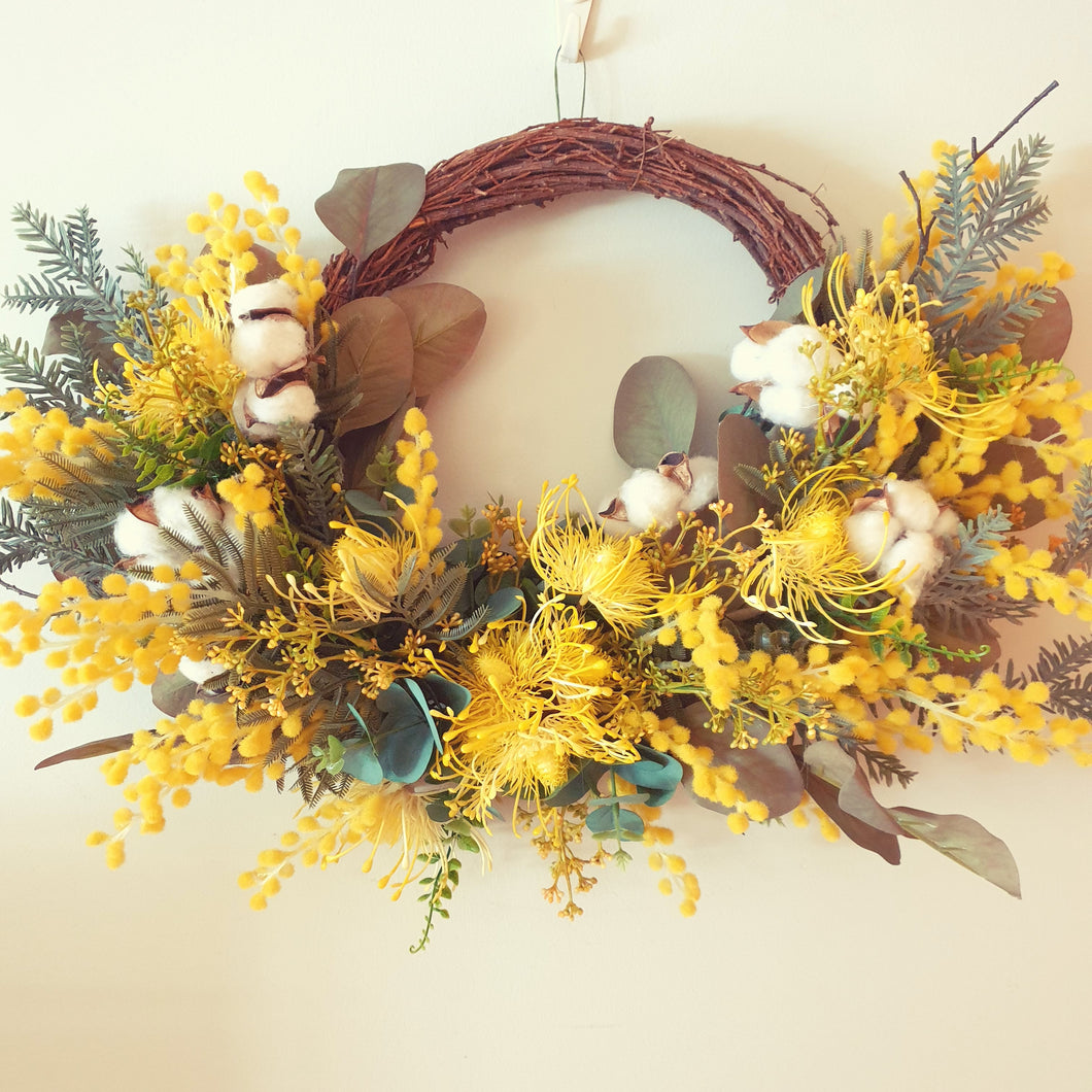 Australian Native Yellow Wattle 50cm Wreath -Free Delivery