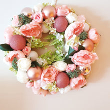 Load image into Gallery viewer, Beautiful country garden Pink and white Christmas 45cm Wreath