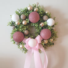 Load image into Gallery viewer, Rose Gold, Pink and white baubles and boxwood Christmas Wreath