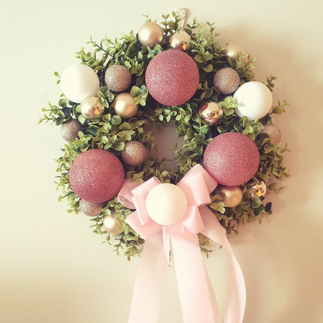 Rose Gold, Pink and white baubles and boxwood Christmas Wreath