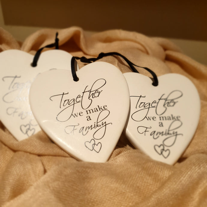 Together we make a family Ceramic Heart