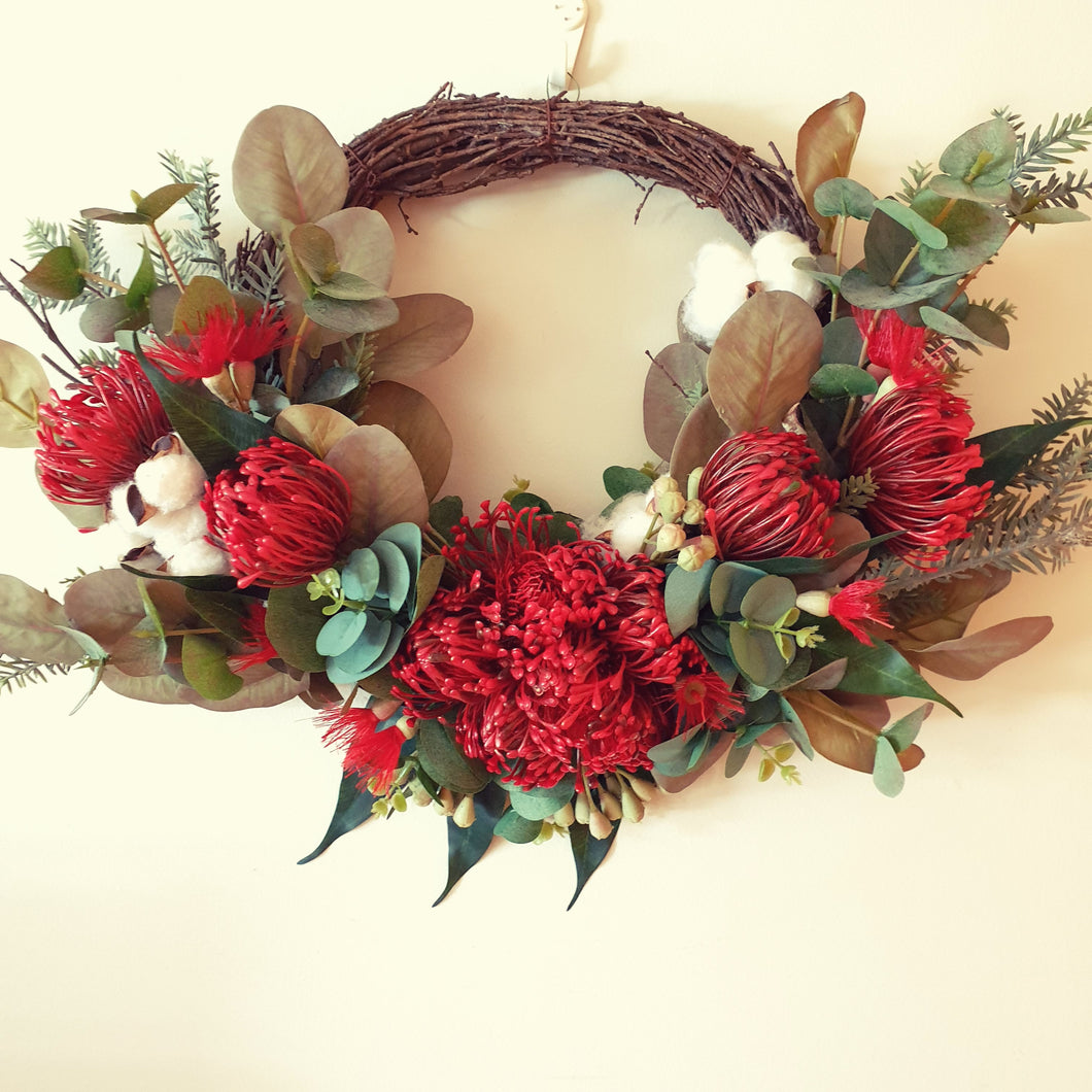 Australian Native Red Pincushion and Red flowering gum Wreath - FREE DELIVERY