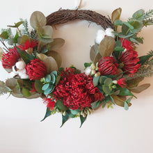 Load image into Gallery viewer, Australian Native Red Pincushion and Red flowering gum Wreath - FREE DELIVERY