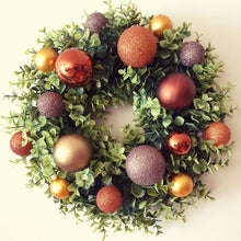 Load image into Gallery viewer, Copper Tones Christmas Bauble Wreath (v2)