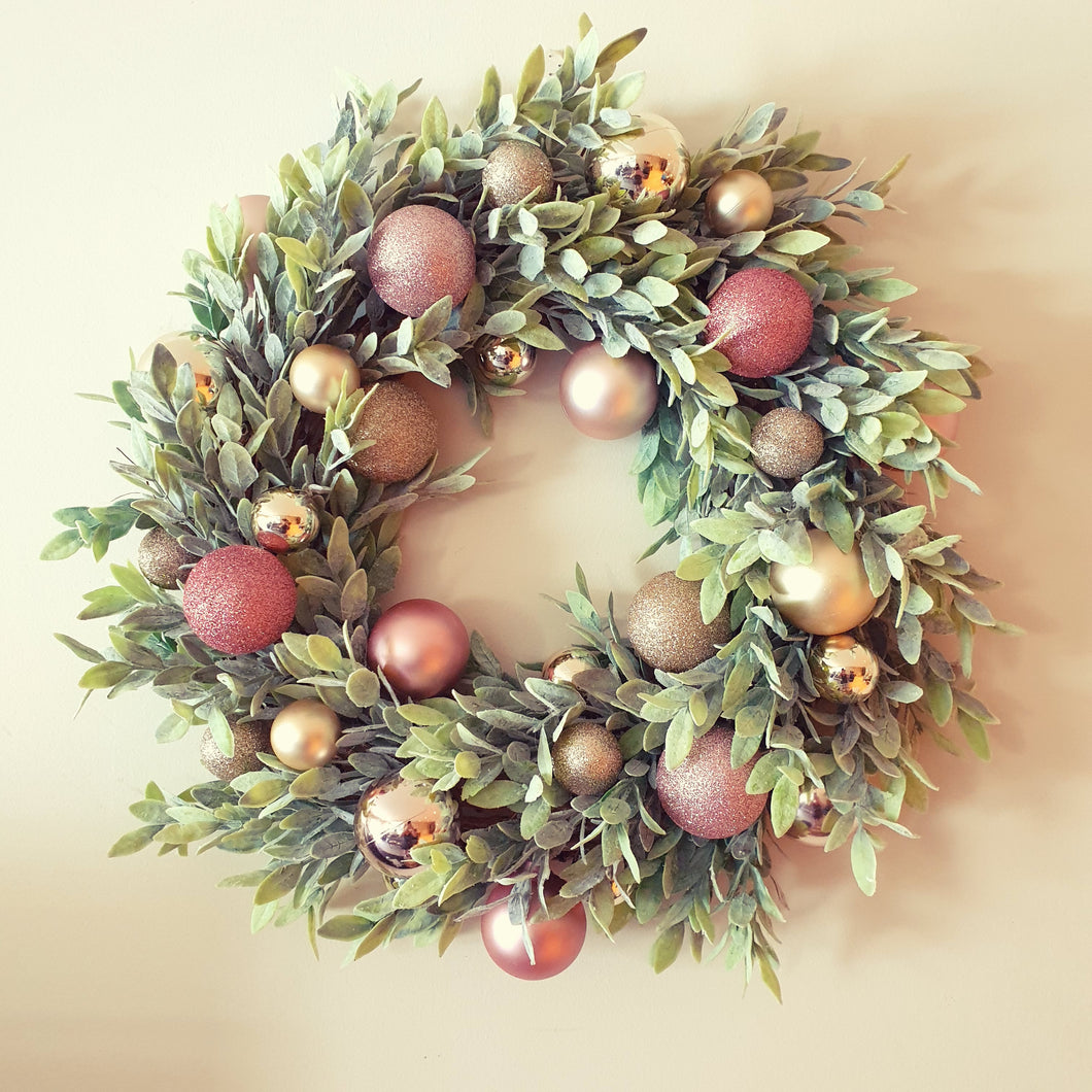Gorgeous 50cm Pink Blush and soft foliage Christmas Wreath