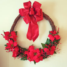 Load image into Gallery viewer, LARGE 80cm Classic Christmas Poinsettia and Vine Wreath - FREE DELIVERY