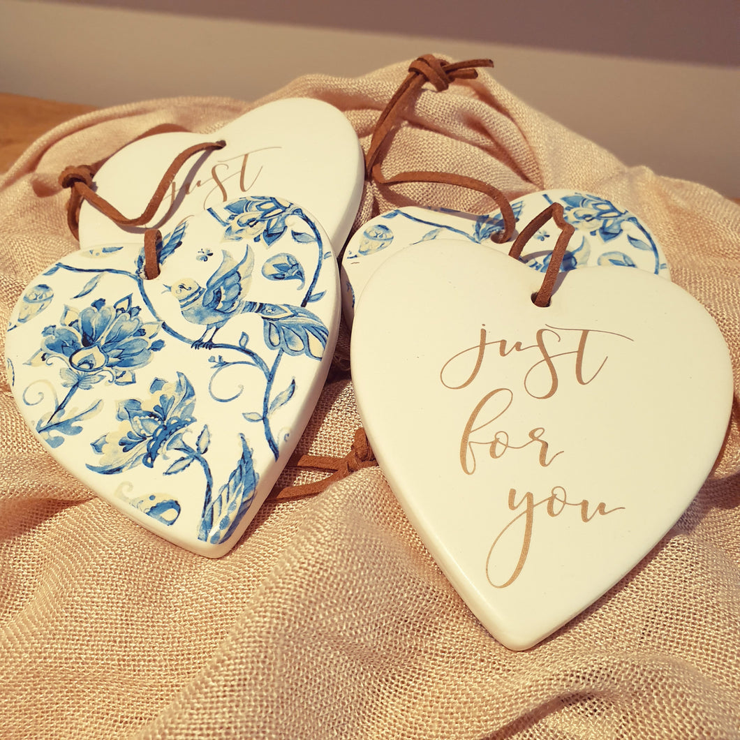 Just for you Blue Bird Ceramic Heart