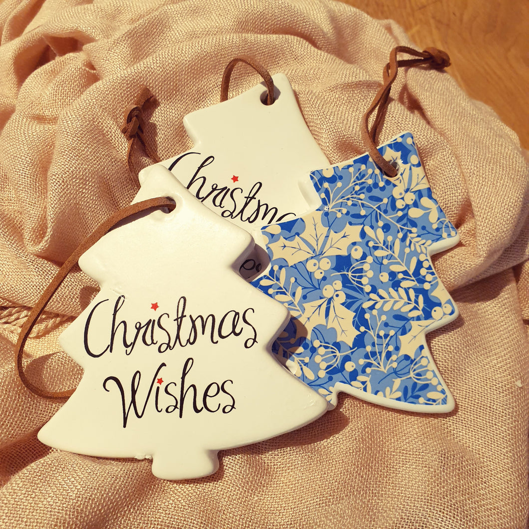 Christmas wishes keepsake Ceramic tree ornament gift Tag