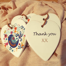 Load image into Gallery viewer, Thank you Funky Bird Ceramic Heart
