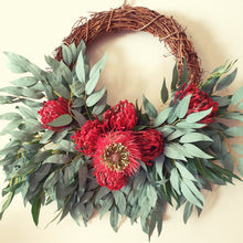 Load image into Gallery viewer, Australian Native Red Banksia, and Red Pincushion protea with gum leaf bush foliage 40cm wreath - FREE DELIVERY