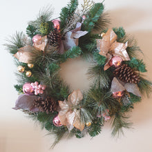 Load image into Gallery viewer, Large 75cm Pink Blush Traditional Christmas wreath with led lights - FREE DELIVERY