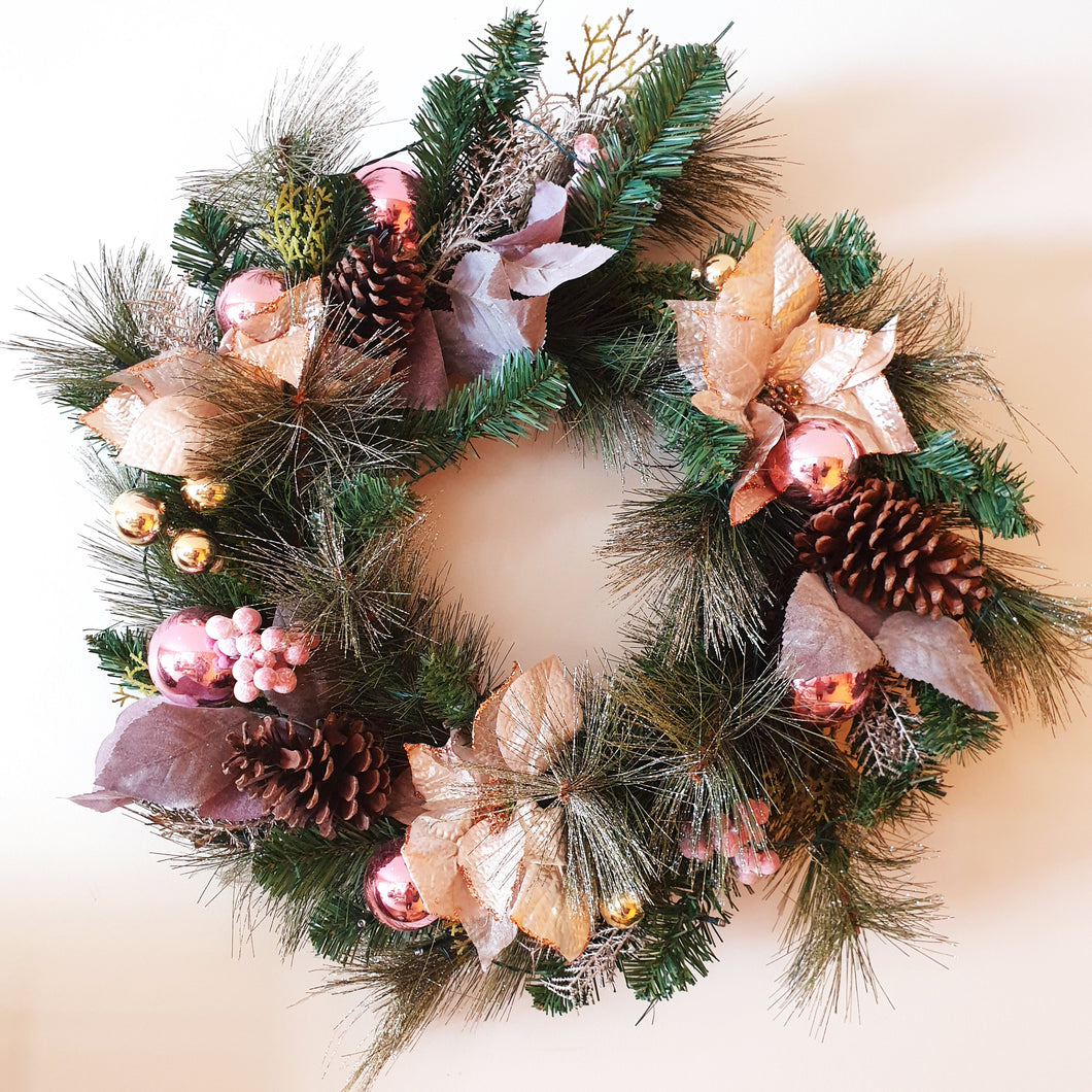Large 75cm Pink Blush Traditional Christmas wreath with led lights - FREE DELIVERY