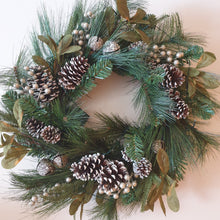 Load image into Gallery viewer, Large 75cm Christmas Bells and Pine cones Traditional Christmas spruce wreath with led lights - FREE DELIVERY