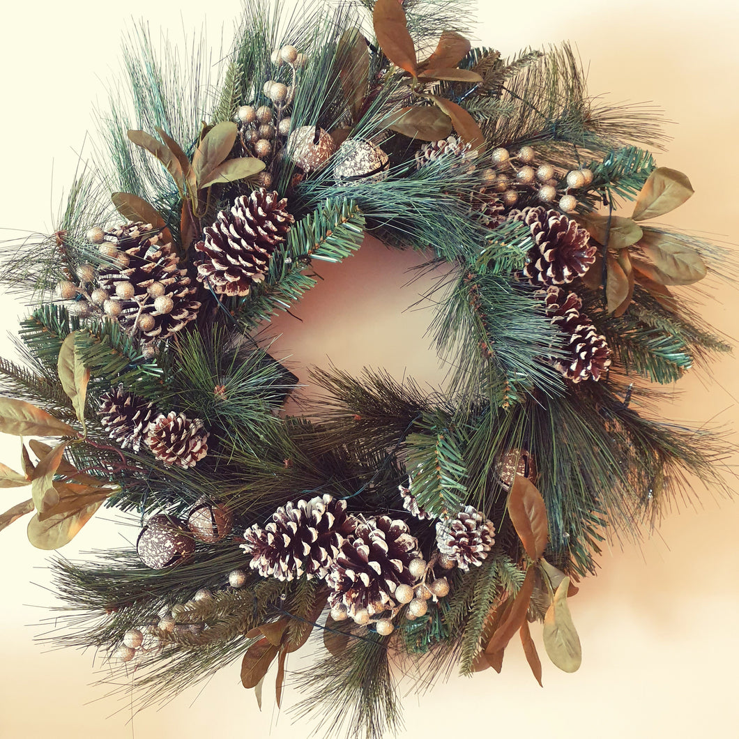 Large 75cm Christmas Bells and Pine cones Traditional Christmas spruce wreath with led lights - FREE DELIVERY
