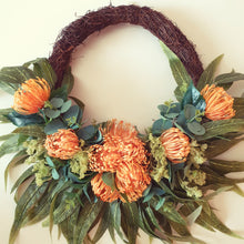 Load image into Gallery viewer, Australian Natives, Orange pincushion proteas and native foliage 50cm Wreath - FREE DELIVERY