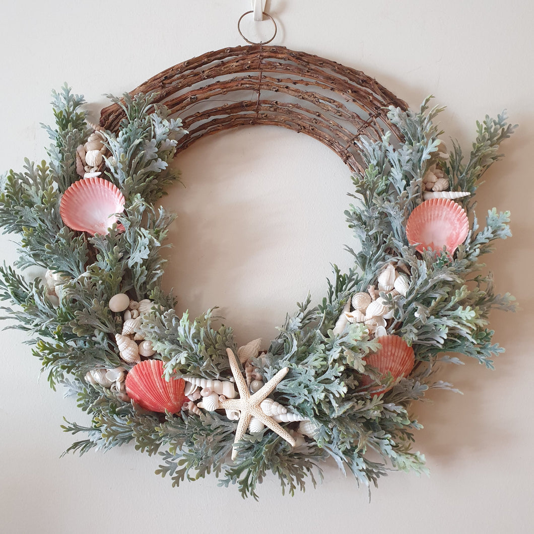 Absolutely stunning Beachside seashell and dusty miller foliage on a vine Wreath- FREE DELIVERY