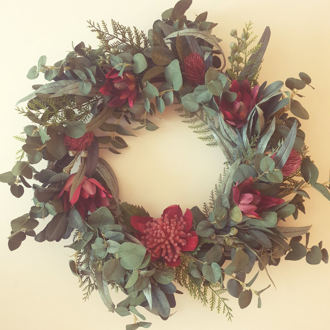 True Blue Aussie Wreath with Waratah and Leucadendron with bush foliage 65cm wreath - FREE DELIVERY