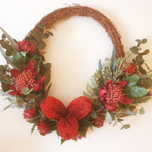 Load image into Gallery viewer, Australian bush Wreath - Waratah, Banksia, pincushion proteas with bush foliage 60cm wreath - FREE DELIVERY