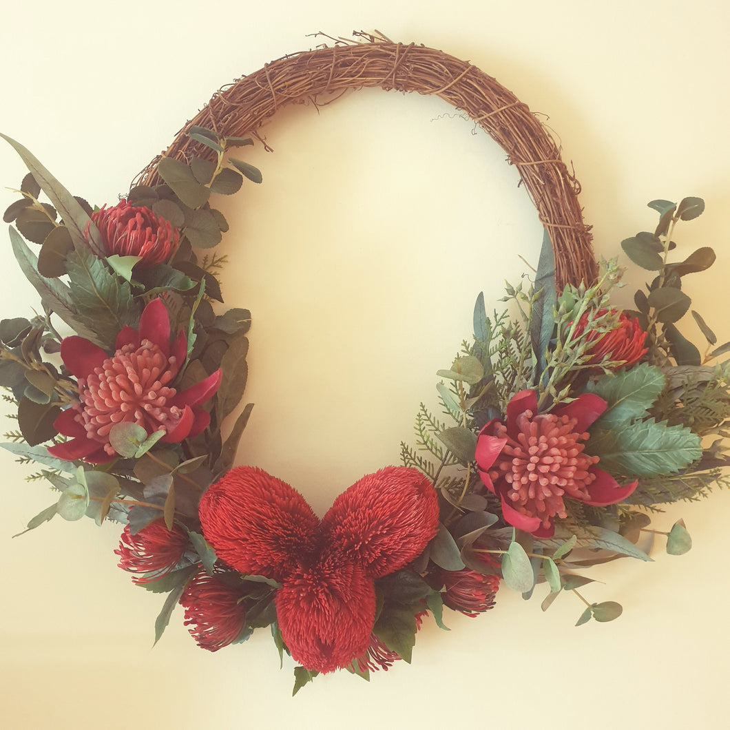 Australian bush Wreath - Waratah, Banksia, pincushion proteas with bush foliage 60cm wreath - FREE DELIVERY