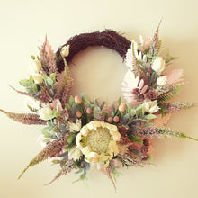 Load image into Gallery viewer, Australian Natives, white King Protea, white blushing bride with bush foliage 50cm wreath