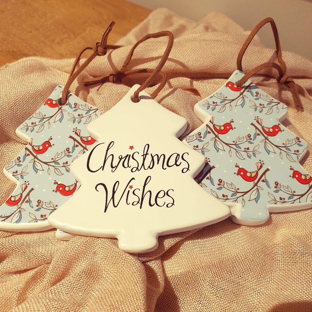 Christmas wishes birds keepsake Ceramic tree ornament gift Tag