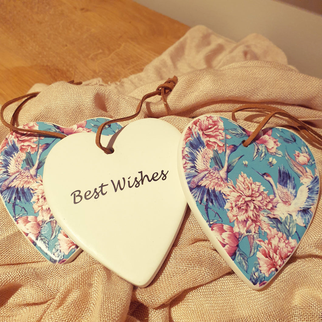 Best Wishes Peony Ceramic Heart