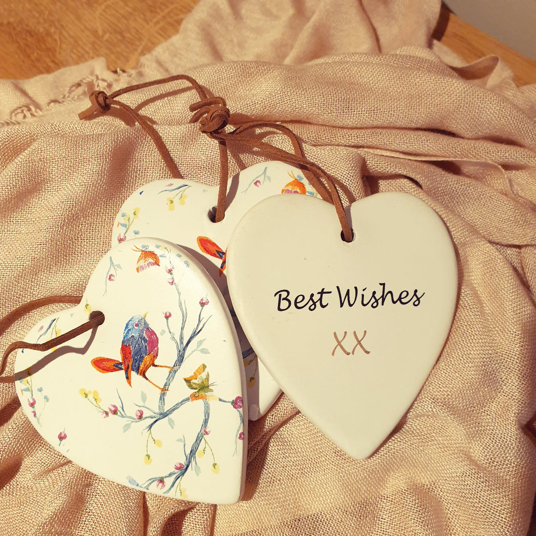 Best Wishes Bird Ceramic Heart