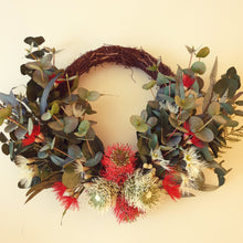 Load image into Gallery viewer, Australian Native Red and white banksia Bottle Brush with flowering gum and bush foliage Wreath - FREE DELIVERY