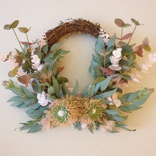 Load image into Gallery viewer, Australian Natives, Pink blushing Banksia Bottle Brush and flowering gum wreath - FREE DELIVERY