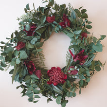 Load image into Gallery viewer, True Blue Aussie Wreath with Waratah and Leucadendron with bush foliage 65cm wreath - FREE DELIVERY